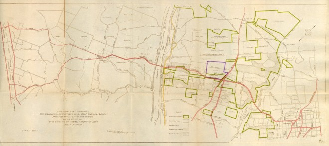 1926: Paul Philippe Cret's design for a Chestnut Hill-Bryn Mawr Road   Courtesy of the Penn Archives & Records Center; see it bigger HERE
