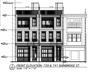 Front elevation, 739 and 41 Bainbridge Street | Source: Jos Serratore & Company Architects zoning proposal