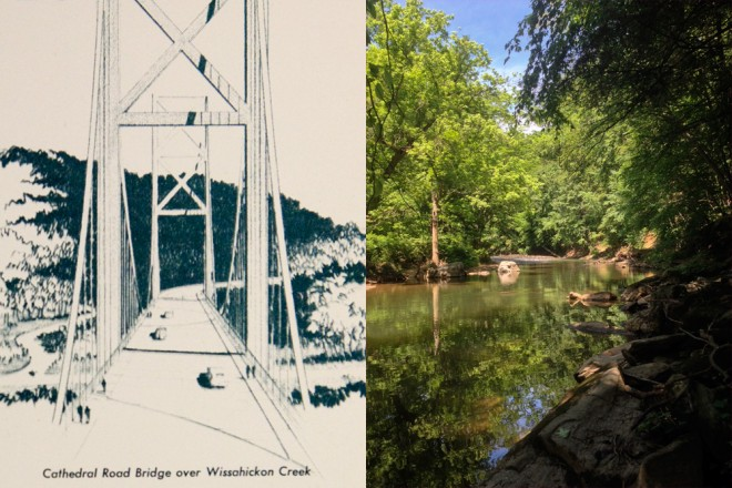 Left: what might have been; right: what is | Bridge rendering courtesy of Penn Archives & Records Center, photo by Bradley Maule