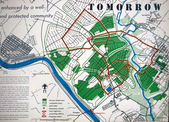 TOMORROW, sort of. Cathedral Road still crosses the Wissahickon, but the Henry Avenue connection is different   Eero Saarinen plan, courtesy of Penn Archives & Records Center
