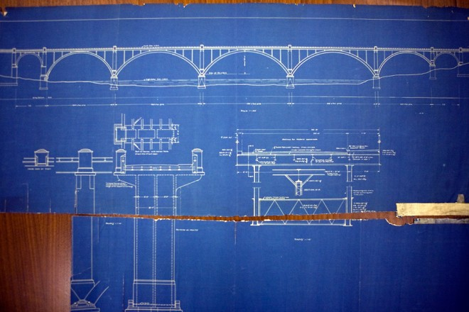 Cret's design for a new bridge across the Schuylkill recalls the circa-1918 Manayunk Bridge a couple miles downstream | Blueprint courtesy of Penn Archives & Records Center