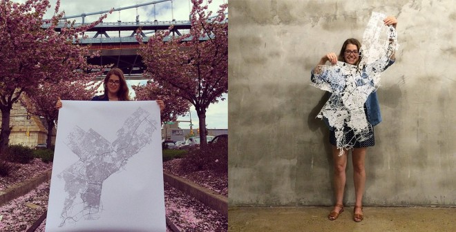 Before & after: Emma Fried-Cassorla with her quintessentially Philadelphian creation | Images via @phillylovenotes