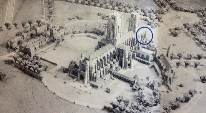 It really would have been a massive cathedral; what actually was built is circled in blue | Rendering courtesy of St. Mary's Episcopal Church