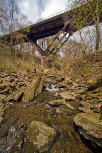 Fairmount Park: where city and nature converge in Philadelphia. Pictured here, McCallum Street Bridge over Cresheim Creek   Photo: Bradley Maule