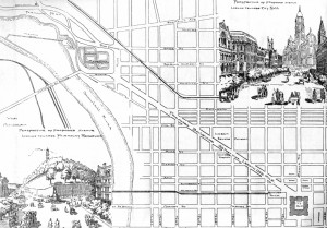 "This is Charles Landis' prospective map advocating his proposal for a slanted boulevard from City Hall (then being built) to the reservoirs of the Fairmount Water Works. His ""Map of the Grand Avenue to the Park, Philadelphia"" of the mid-1880s was clairvoyant; the Benjamin Franklin Parkway follows Landis' suggested course almost exactly 