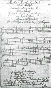Page from 1708 hymn book of Mystics of the Wissahickon, believed to be the first music manuscript in America. Original in collections of Historical Society of Pennsylvania.