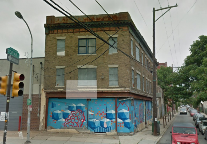 Southwest; corner of 2nd and Poplar | Screenshot of a 2011 Google Street View image capture