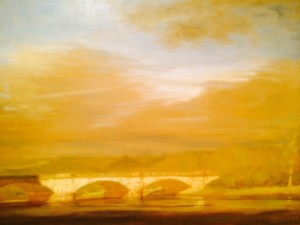 "First place winner ""After a Spring Storm: Columbia Bridge"" by Patrick Connors, on display at the Athenaeum until August 8"