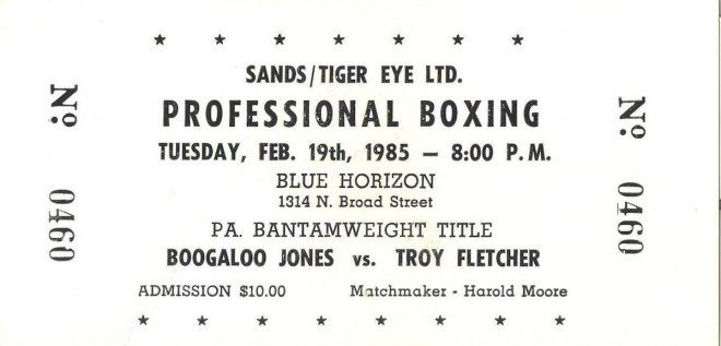 02-19-1985 Troy Fletcher vs. Boogaloo Jones ticket @ Blue Horizon