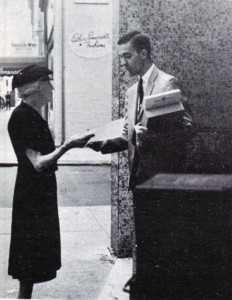 Leafletting outside Dewey's, 1965
