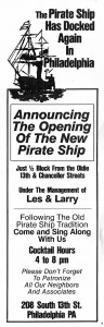1981 advertisement for the Pirate Ship