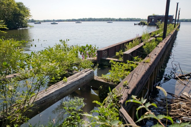 """Graffiti Pier, Jr:"" a coal pier on the Delaware on the former Coke Company site | Photo: Bradley Maule"