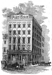 The building in 1870, by the Longacre Lithography Company, which was headquartered in the same building! | Pettengill's Newspaper Directory
