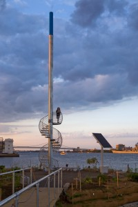Jody Pinto's Land Buoy uses a solar panel to light the beacon atop of the 55' sculpture, marking the immigration station so many Philadelphia families came through | Photo: Bradley Maule