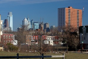 Mantua Hall (right), seen on the Philly skyline just before its demolition in March 2008 | Photo: Bradley Maule