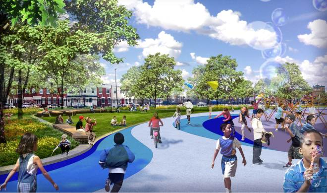 Rendering of Hackett Elementary schoolyard redesign | Image: Community Design Collaborative