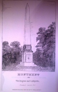 The Washington-Lafayette obelisk of Monument Cemetery. From Ceremonies on the Completion of the Monument to the Memory of Washington and Lafayette in the Monument Cemetery of Philadelphia  (1869).