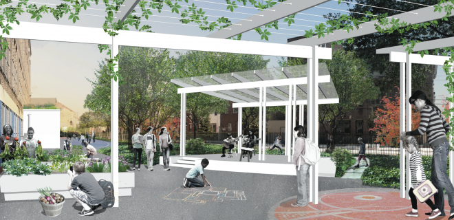 Stanton schoolyard design after preliminary design work by Community Design Collaborative | Image: Locus Partners