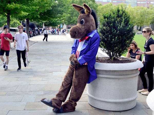 """A party mascot after greeting Democratic officials at the National Constitution Center."" 