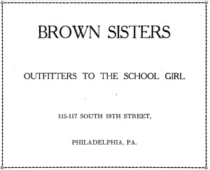 Ad for Brown Sisters | Source: The Mount Year Book Volume XIII