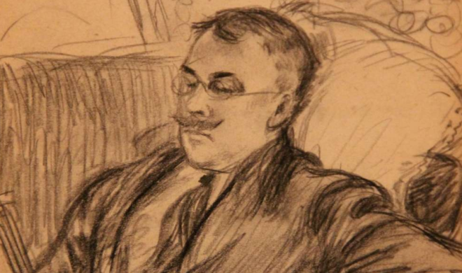 """Willaim Glackens sketched his longtime friend Albert Barnes in 1912."" 