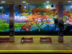 The distinctive tiled mural of Market East Station is especially attractive when seen from afar   Photo: Bradley Maule