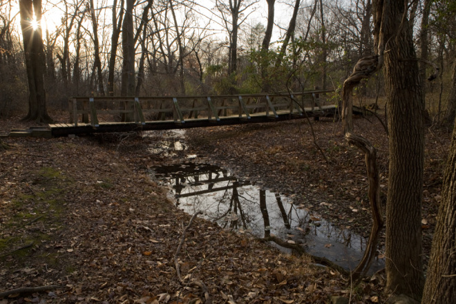 "The first bridge of any significance over Wissahickon Creek is this wooden footbridge in the Montgomery Township ""natural area"" 