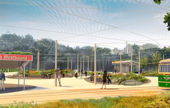View of 40th Street Trolley Portal from Woodland Avenue | Rendering by Andropogon, courtesy of University City District