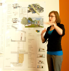 Amber Long discussing her thesis project | Photo: Philadelphia University