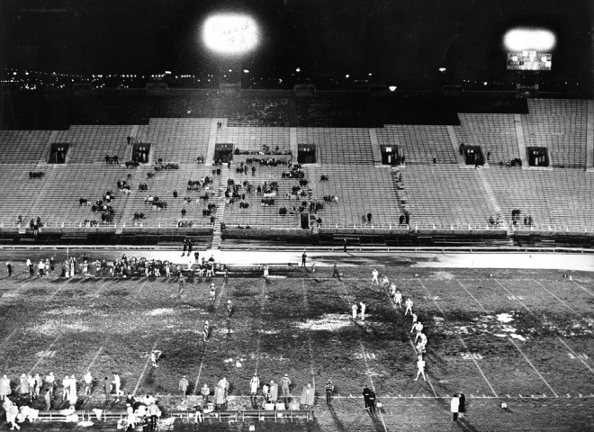 The Bell host the Shreveport Steamer in a nearly empty JFK Stadium, October 1974 | Image courtesy of Temple University Special Collections Research Center