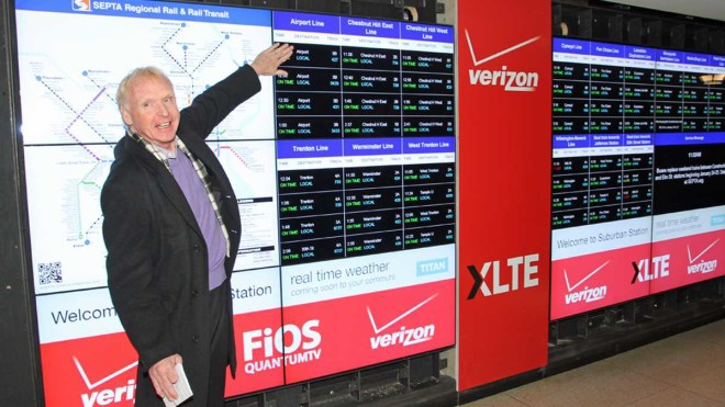 A sampling of Verizon's plastering of itself throughout Suburban Station | Photo: Tom MacDonald, for NewsWorks
