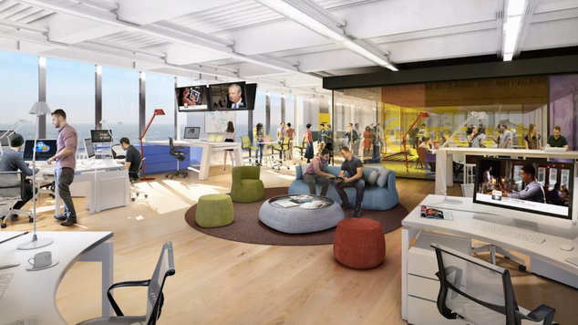 Now, all of the hypothetical employees in this rendering  will be Comcast employees. | Courtesy of Comcast and Foster + Partners, via Philadelphia Business Journal