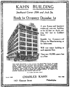 Ad for the Kahn Building while it was under construction | Source: Philadelphia Evening Ledger, October 31, 1921