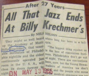 Philadelphia Daily News article announcing closing of Billy Krechmer's, May 13, 1966 | Courtesy of the George D. McDowell Philadelphia Evening Bulletin Collection, Special Collections Research Center, Temple University Libraries