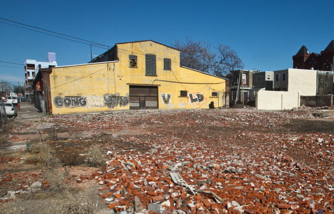 """Area of the 2600 block of Poplar Street where Ashaw Demolition of Oxford Circle took down nearly half a block of buildings."" 