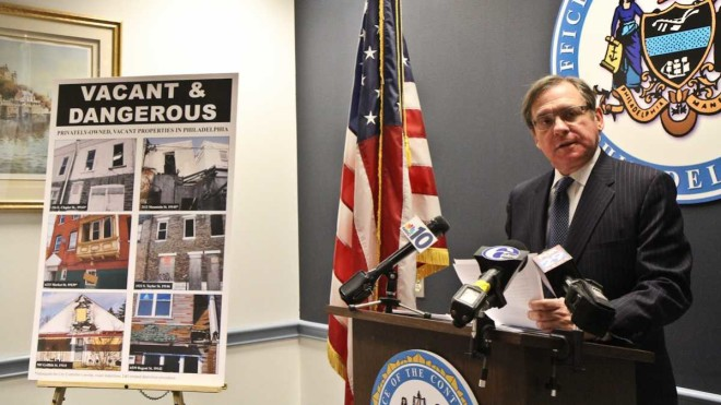 """Philadelphia City Controller Alan Butkovitz speaks at a press conference Wednesday about vacant properties posing a danger in the city."" 
