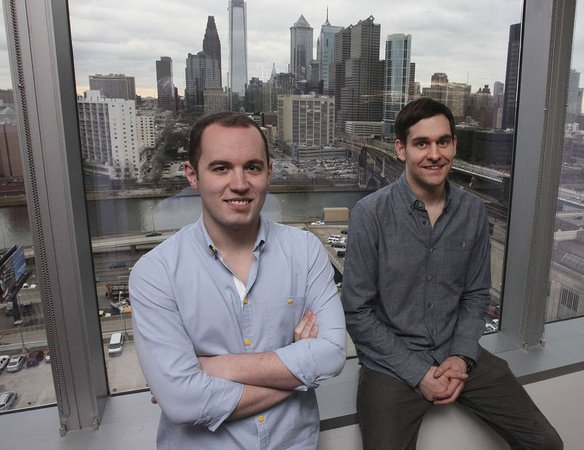 """Leadnomics cofounders Zachary Robbins (left) and Stephen Gill in their [former] Cira Centre office."" Photo: Steven Falk, for the Daily News."