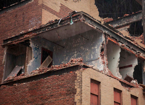 """The destruction of the historic Boyd Theater has begun on the Sansom Street side."" 