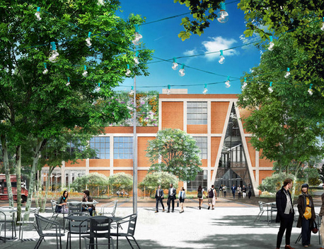 """Rendering of the Pennovation plaza, shaded by sycamores, outfitted with tables. The $37.5 million landscape and renovation won't be done until mid-2016, but Penn has already begun leasing space to start-ups."" 