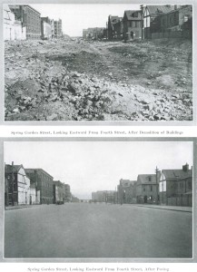 The creation of Lower Spring Garden Street. The newly-exposed party wall of the building is visible center left. Annual Message of W. Freeland Kendrick, Mayor of Philadelphia (1926)