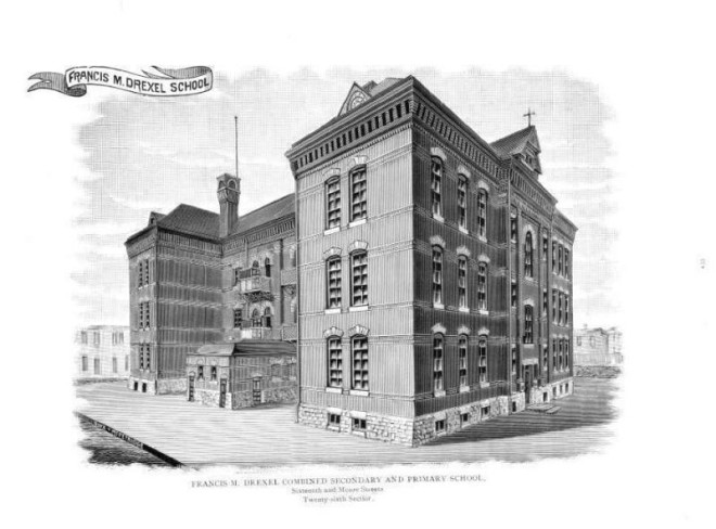Drawing of the Francis M. Drexel School | Source: The Public Schools of Philadelphia, 1897