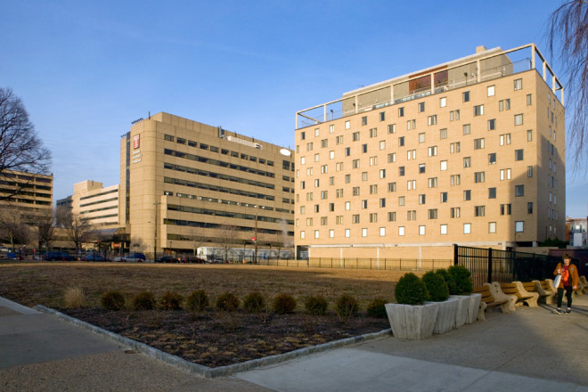 The former site of the Masonic Home of PA is now a grass lawn that affords views of the hospital | Photo: Bradley Maule