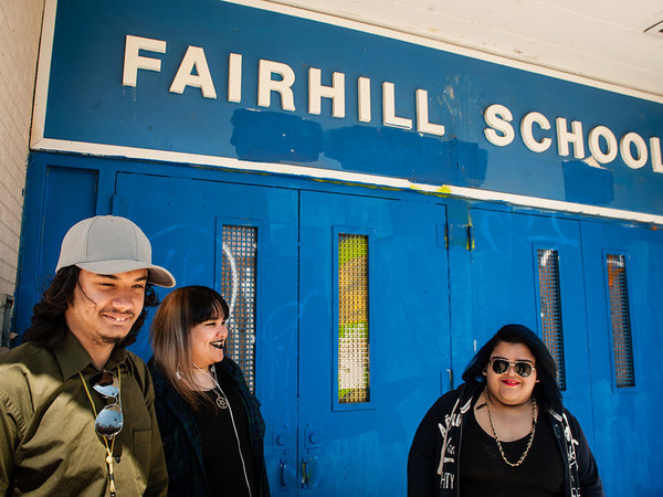 """Students (from left) Dante Quinones, Lynoshka Santa, and Chelsey Velez are working on a project to convert artifacts from the closed Fairhill Elementary School into an art installation."" 