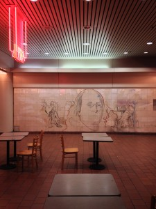 Uncovered mural, 1983 in empty Gallery food court, April 2015 | Photo: Bradley Maule