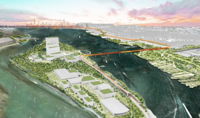 """A winning design proposal envisions a thriving future for an uninhabited Philly island."" Next City"