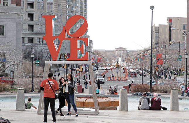 """""""JFK Plaza is known as LOVE Park after the iconic view from Robert Indiana's sculpture to the Art Museum, but proposals de-emphasize the diagonal walking connection. April 6, 2015"""" 