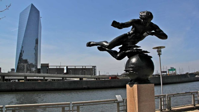"""'Air' by sculptor Walker Hancock is on display at the Schuylkill Banks at the Cherry Street overlook after 15 years in a city storage facility."" 