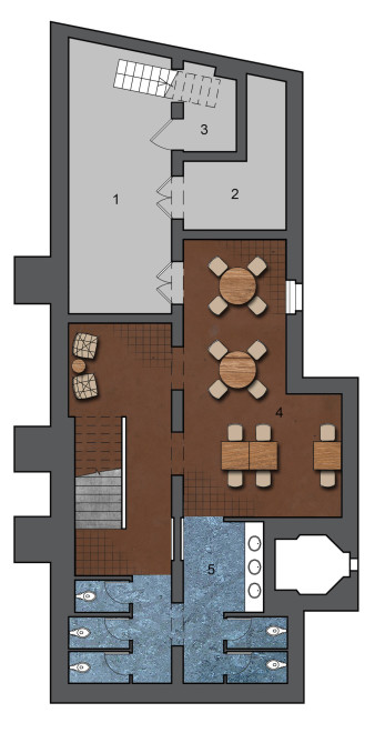 Lower Level Plan: 1. Prep Area | 2. Walk-In Freezer | 3. Electrical Room | 4. Dining | 5. Unisex Restrooms
