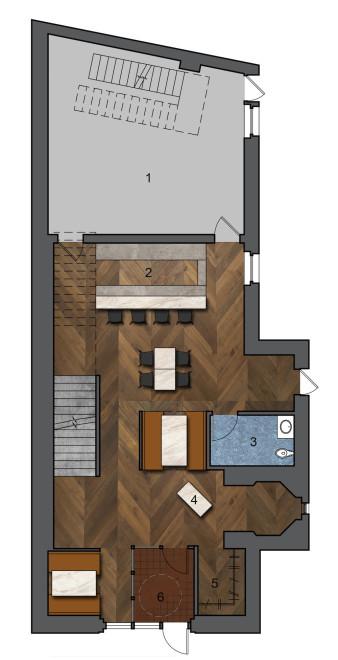 Main Level Plan: 1. Kitchen | 2. Bar | High-top Tables | 4. Accessible Restrooms | 5. Hostess Stand | 6. Coat Room | 7. Entry | Waiting Area
