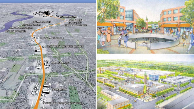 """Renderings of (clockwise from left) the Roosevelt Boulevard Subway Extension viewed from the Northeast and two views of a proposed Northeast town center at Cottman Avenue Station, all circa the Philadelphia City Planning Commission's 2003 Roosevelt Boulevard Corridor Study."""
